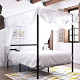 YITAHOME Metal Full Size Canopy Bed Frame with Built-in Headboard / 14 Inch Platform / Strong Metal Slat Support/No Box Spring Needed