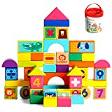TOP BRIGHT Building Blocks for Toddlers 1-3 50 Pieces Set,Wooden Blocks Toys for 1 Year Old Boy...