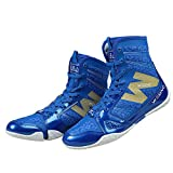 Wesing Unisex Pro Kickboxing Footwears Training Shoes High-top Ankle Boxing Shoes Blue