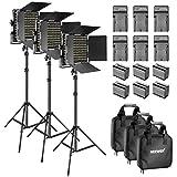Neewer Kit da 3 Pack 660 LED Video Luce Regolabile Bicolore con Paraluce e Supporto Luce da 1,83 cm 6600mAh Batteria Li-ion Ricaricabile e Caricabatterie per Fotografia YouTube Video (Nero)