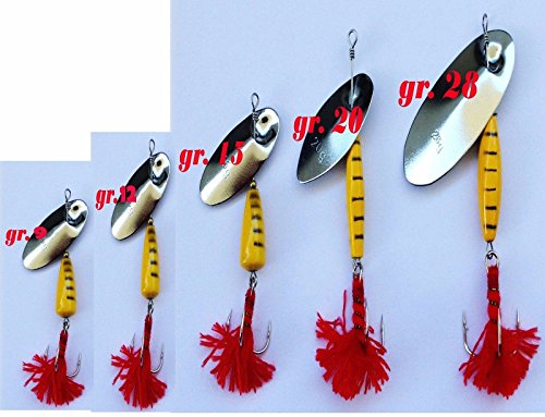 Carson CUCCHIAINO Fiocco Rosso LUCCIO Reale Trota Esca Rotante Pesca Spinning VESPATO Giallo (Tutte Le GRAMMATURE)