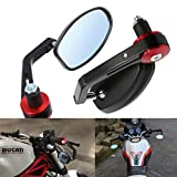 ViZe 7/8' 22mm Rétroviseurs Moto Miroirs Latéraux Moto Poignée Rouge Pour Yamaha Honda Triumph...