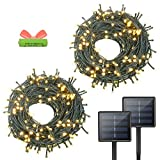 OZS- 2Pack Each 72FT 200LED Solar Lights Outdoor, Upgraded Super Bright Solar String Lights Outdoor...