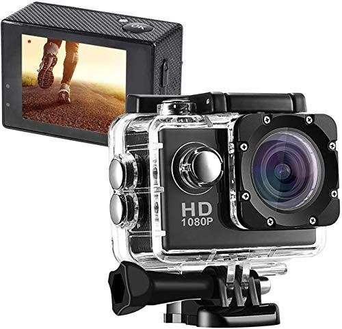 Action Cam,Subacquea Ultra HD Sport Action Camera, Videocamera Impermeabile Full HD 1080P Cam Subacquea Fotocamera profondità 30m Schermo LCD da 2 Pollici per Sport estremi, Sport Acquatici (Nero)