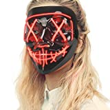 Lizber Halloween Mask, Led Light Up Mask with Neon Wires, Adjustable Scary Masquerade Glow Mask for Festivals, Parties, Carnivals and Raves, Glowing Mask for Men, Women, Kids, Jacinth Red