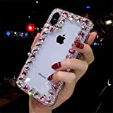 AQUOS S2 Crystal Diamond Case, 3D Handmade Luxury Sparkle Crystal Rhinestone Diamond Glitter Bling Clear TPU Silicone Case Cover Sharp AQUOS S2 (Border/Pink)