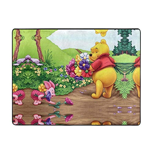 Winnie Pooh and Piglet with Flower Soft Area Rugs Bedroom Carpets for Living Room Bedroom Kids Room Girls Room Nursery Home Decor Carpet 63 X 48 Inches