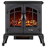 e-Flame USA Jasper Free Standing Electric Fireplace Stove - 3-D Log and Fire Effect (Black)
