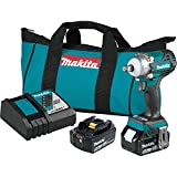 Makita XWT14T 18V LXT Lithium-Ion Brushless Cordless 4-Speed 1/2' Sq. Drive Impact Wrench Kit w/Friction Ring Anvil (5.0Ah)