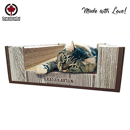 CanadianCat Company ®   Der KRATZKARTON 2.0   XXL Scratch Lounge   Kratzmöbel, Kratzbrett   Qualitäts-Wellpappe + Katzenminze   34 X 56 X 12cm