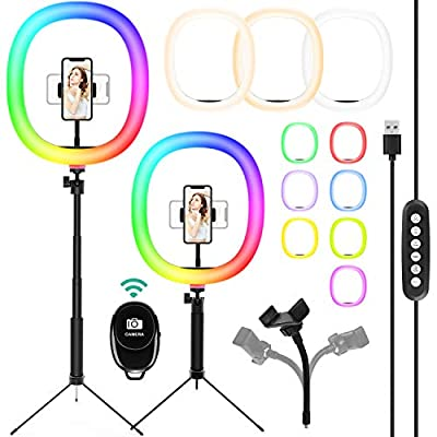"""【 10"""" Ring Light&10 Colours】:You can adjust the light according to your needs by 10 colors and 10 Brightness Level.Easily control the brightness through the button on the remote control.10"""" larger size ,RGB LED chips 48 ,2835warm white LED chips48, 2..."""