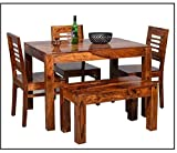 Chetan Interiors Sheesham Wood Dining Table with 3 Chairs, 1 Bench   4 Seater Dining Set   Wooden Dining Table with Chair - Dining Room Furniture (Honey Finish)