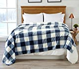 Great Bay Home Super Soft Plaid Buffalo Check Velvet Plush Bed Blanket. Flannel Fleece All Season Lightweight Blanket. (Full/Queen, Denim Blue)