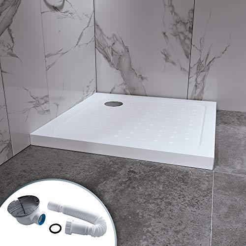Duschwanne Duschtasse 90x90 Quadratisch Acryl inkl. Ablaufgarnitur (Syphon) Weiss - Duschwanne mit Gefälle (90x90)