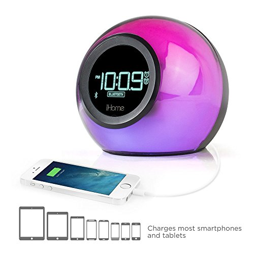 iHome IBT29 Bluetooth Color-Changing Dual Alarm Clock Radio with Speakerphone