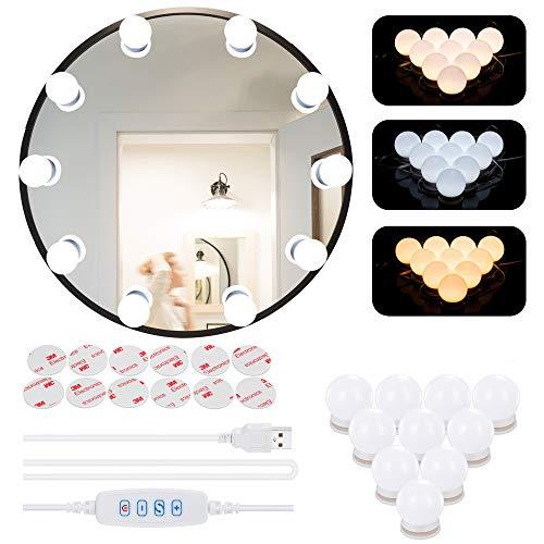 LED Spiegelleuchte,Hollywood Stil Schminklicht mit 10 Dimmbar Glühbirne,Azhien Schminktisch Leuchte,Schminkleuchte,Spiegellampe mit 3 Farbmodi für Schminkspiegel,Schminktisch und Kosmetikspiegel