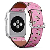 Compatible with Apple iWatch Series 1/2/3/4 (38mm & 40mm), Replacement Leather Bracelet Wristband Strap [ Cute Cartoon Pug ]