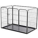 Pawhut Laufstall für Haustier, Laufgitter mit Bodenschale, Freigehege mit Tür, Metall Grau