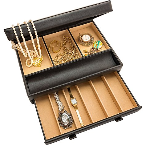 Product Image 4: Stock Your Home Watch Box with Valet Drawer for Dresser - Mens Jewelry Box with Multiple Compartments - Jewelry Case Display Organizer for Mens Jewelry Watches, Men's Storage Boxes Holder