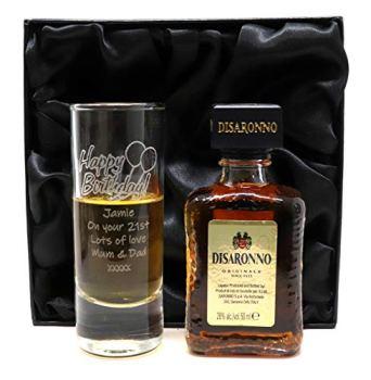 Personalised Tall Shot Glass & Miniature in Silk Gift Box - Birthday Design (Disaronno Originale)
