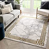 Well Woven Lezlee Ivory & Gold Retro Border Marble Pattern Area Rug 5x7 (5'3' x 7'3')