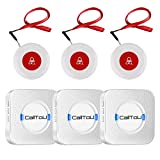 CallToU Wireless Caregiver Pager Call System 3 SOS Call Buttons/Transmitters 3 Receivers Nurse Calling Alert Patient Help System for Home/Personal Attention Pager 500+Feet Plugin Receiver Alert