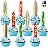48 Pieces Surfboard Cupcake Toppers Surfboard Beach Cake Decorations Surfboard Mini Accents for Swimming Pool Summer Beach Party Luau Birthday Baby Shower Party Supplies