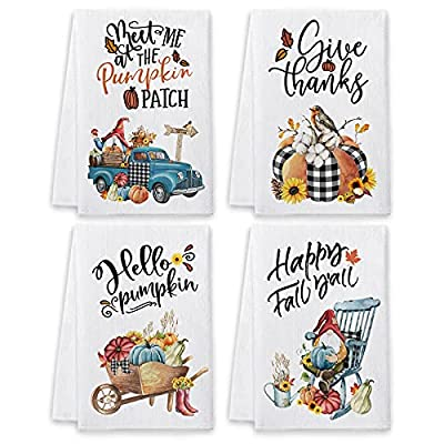 """❤【SIZE and MATERIALS】Measures approximately 16"""" x 23.5"""", 4 pack. The lightly kitchen towels clearance prime are made of 100% microfiber. Lint free and quick dry ability make it great for all around use, while also being great on glass. ❤【UNIQUE DESIG..."""