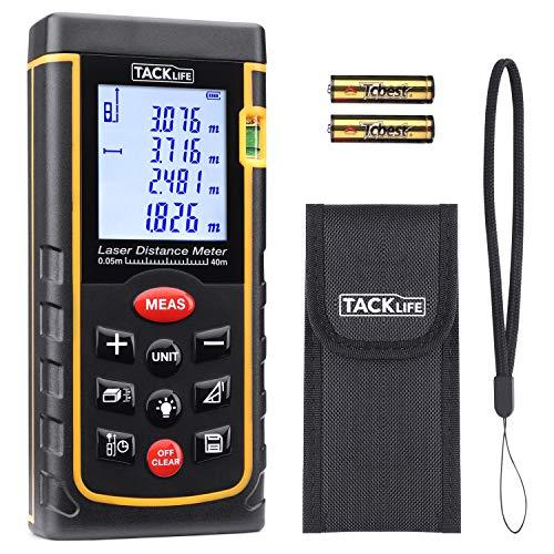 Laser Entfernungsmesser Tacklife A-LDM01 40 Advanced Distanzmessgerät (Messbreich: 0,05~40m/±2mm) mit M/In/Ft, Größeres LCD Display, bis zu 11 Messmodi, IP54, in Schutztasche