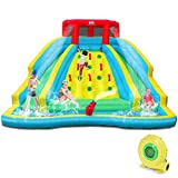 BOUNTECH Inflatable Double Slide Bounce House, Kids Splash Pool Water Slide w/Climbing Wall, Water Cannon, Splash Pool, Including Carry Bag, Repairing Kit, Stakes, Hose (with 480W Air Blower)