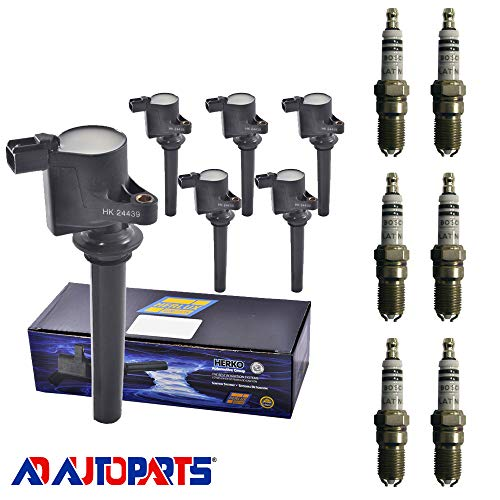 AD Auto Parts Ignition Coil Pack - 6 Herko B056 Ignition Coils + 6 4305 Spark Plugs For 2000-08 Ford & Mercury