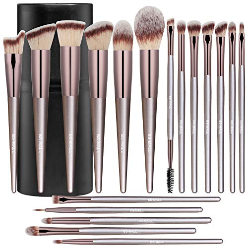 Product Image 1: BS-MALL Makeup Brush Set 18 Pcs Premium Synthetic Foundation Powder Concealers Eye shadows Blush Makeup Brushes Champagne Gold Cosmetic Brushes with Black Case
