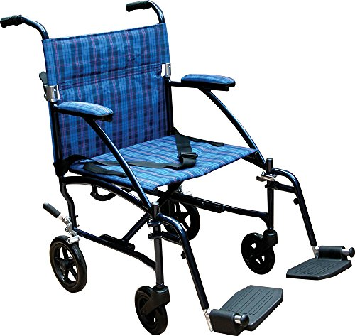 Drive Medical Fly Lite Ultra Lightweight Transport Wheelchair, Blue Frame, 17 lbs, 19'