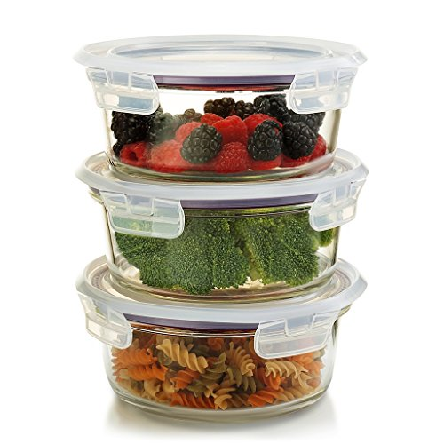 Komax Oven Safe Round Glass Food Storage Containers – Microwave & Freezer Safe - Airtight Bowls with Snap Locking Lids - 3 Piece Set - BPA FREE (32 oz)