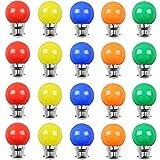 Lot de 20 ampoules Led B22 2W Guirlande Rouge, Jaune, Orange, verte, Bleu, Incassable (équivalence 20W)