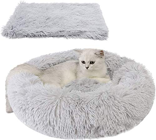 Cama para Mascotas Suave de Felpa de tamaño Mediano + Alfombra (Cama 60 cm/Alfombra 56*36cm) (Gris Claro)
