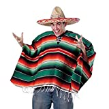 Unisex Bright Striped Cotton Mexican Style Poncho Halloween Costume (HAT NOT INCLUDED)