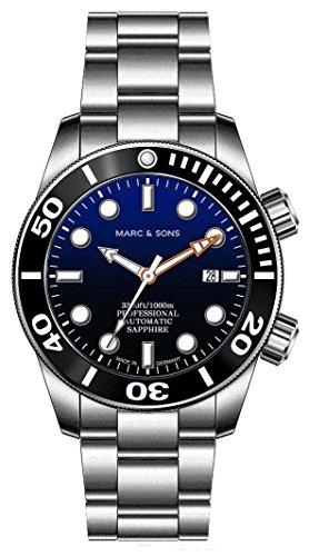 MARC & SONS 1000 M Orologio automatico da sub blu, vetro zaffiro, valvola elio, lunetta in ceramica,...