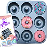 Large Non-Stick 100% LFGB Grade Silicone Donut Pan, Makes 9 Full Size Donuts, Oven, Dishwasher and Freezer Safe Donut Mold by Unicorn Glitter LLC