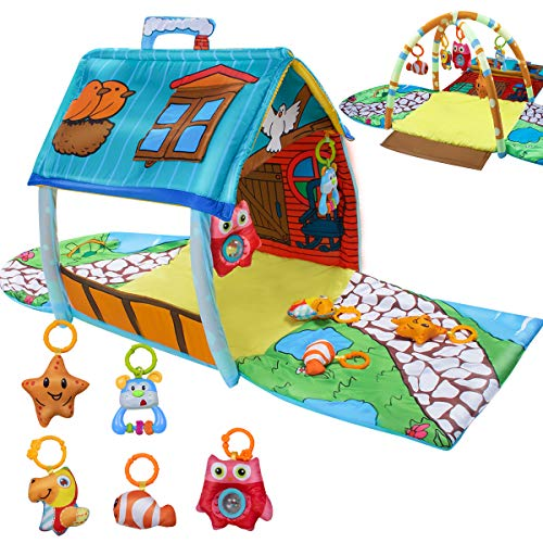 UNIH Baby Activity Gym Infants Fitness Little House Playmat...