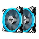 Aigo, Halo Ring LED 120mm 12cm PC CPU Computer Case Cooling Neon Quite Clear Fan Mod 4 Pin/3 Pin (120mm, 2 Pack Ice Blue)