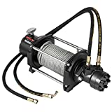 VEVOR Industrial Hydraulic Winch 15,000lbs, Hydraulic Anchor Winch with 24m Strong Steel Cable, Hydraulic Drive Winch Adapter Kit, Utility Winch with Mechanical Lock for Tacoma Yukon Hummer, etc.