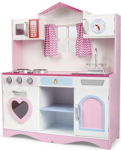 Cucina Rosa Giocattolo Per Bambini Gioco In Legno Giocare D'imitazione Accessori Per Cucina Pink...