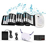 Hricane Roll Up Piano Keyboard, Portable 61 Keys Electronic Keyboard with Pedal and Bluetooth, USB Rechargeable MIDI Built-in Two Speakers, for Kids Adults Beginners