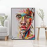 Retrato abstracto pintura al leo moderna lienzo pintura pared arte mural cartel sin marco pintura A 30x40cm