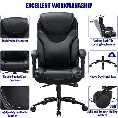 Product Image 2: KCREAM Office Chair,Adjustable Computer Chair PU Leather Swivel Task Chair Flip-up Armrests Ergonomic Desk Chair with Thick Padded Lumbar Support (9109-balck)