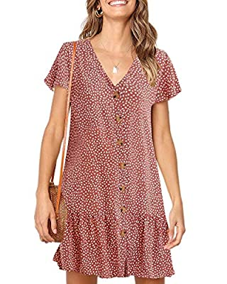"""Material: Polyester+Spandex, Lightweight and comfortable fabric, not see through, but color """"Z1-navy"""" is a liitle see through Features: Polka dot, Ruffles hem, Button down, Short cap sleeve, Loose fit, Short dress Occasion: Casual, Summer beach, Home..."""