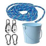 FUQUN Ensemble D'outils de Jardinage, Poulie avec Câble de Seau, pour Enfants Les Enfants sont L'accessoire Parfait pour la Cabane dans Les Arbres, la Maisonnette, Le Cadre d'escalade (Bleu)