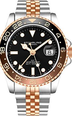 Stuhrling Original Mens Stainless Steel Jubilee Bracelet GMT Watch - Swiss Quartz, Dual Time, Quickset Date with Screw Down Crown, Water Resistant up to 10 ATM (Two Tone Rose Gold)