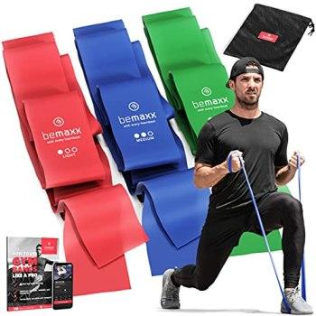 Bandes Élastiques Fitness Set / Extra Longue 2m Elastiband 3 Niveaux de Résistance + eBook Guide et Sac | Rééducation Physique Exercise Pilates Yoga Sport Gym Musculation Traction Gymnastique Kit